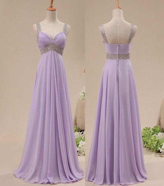 Purple Chiffon Straps Sweetheart Bridesmaid Dress, Long Formal Gown 2020