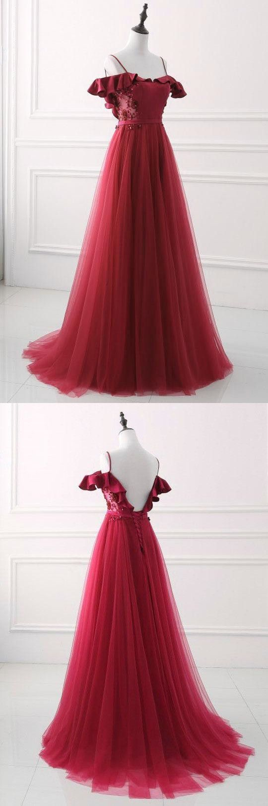 Beautiful Buurgundy Backless Tulle Long Dress, Party Dress 2020