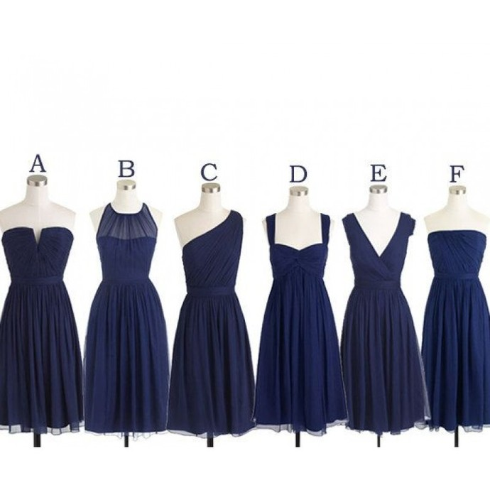 short bridesmaid dresses 2020 chiffon navy blue mismatched cheap custom wedding