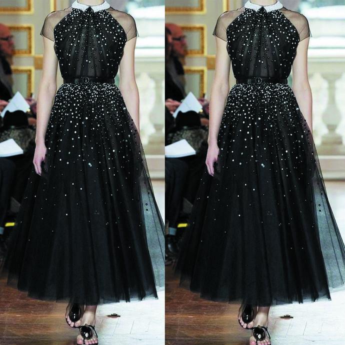 black vintage prom dresses abendkleider short sleeve ankle length beaded prom