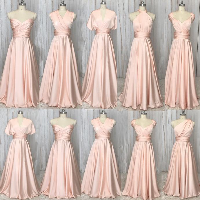 pink infinite bridesmaid dresses long satin cheap convertible custom wedding