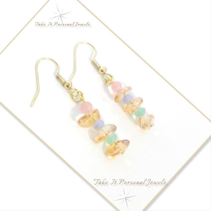 Amber Chips Pastel Dangle Earrings Hypoallergenic Hook Ear Wire Handmade