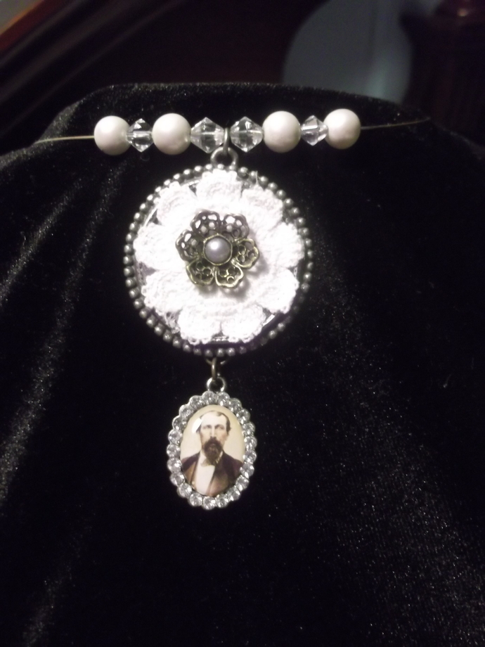 Victorian/Edwardian inspired embroidered flower pendant with old fashioned