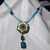 Off white and turquoise color acrylic Victorian/Art Deco inspired pendant on