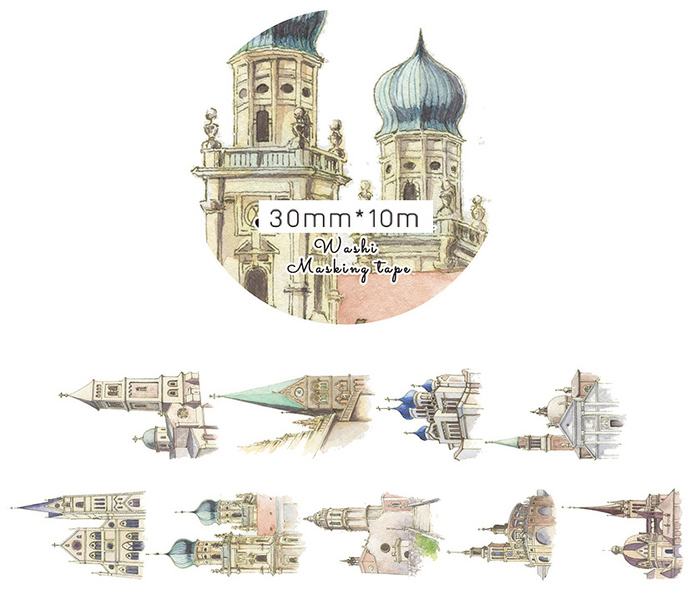 1 Roll of Limited Edition Washi Tape:  Renaissance European Classic Buildings