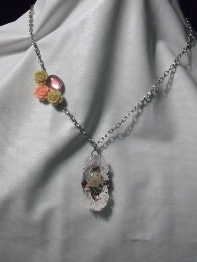 Acrylic roses pendant with lace trim on chain with acrylic roses and acrylic gem