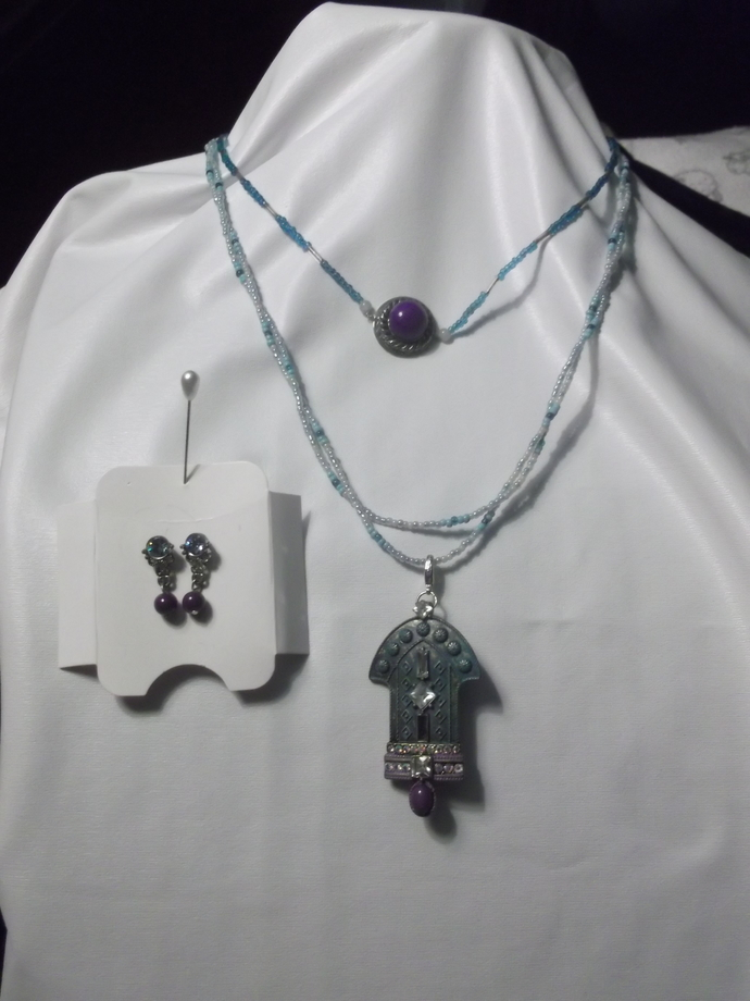 Turquoise and purple pendant-pin on double strand beaded necklace and small