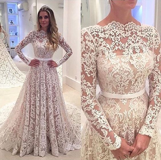 boat neck lace appliqué prom dresses long sleeve elegant a line cheap prom gown
