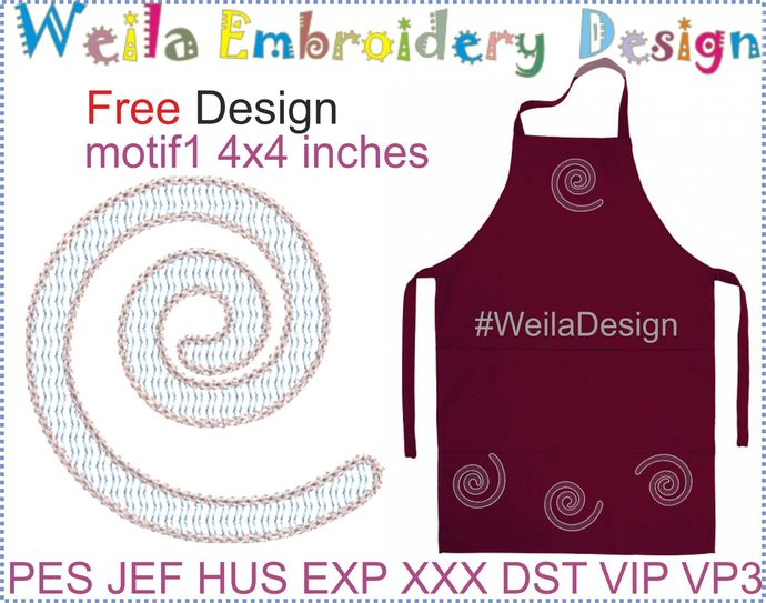 Free Design Motif #1  4x4 Embroidery machine design for dress, tablecloth pes
