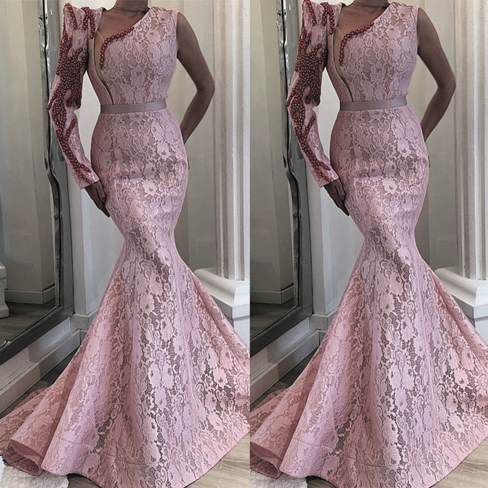 one shoulder pink evening dresses long lace appliqué mermaid beaded luxury