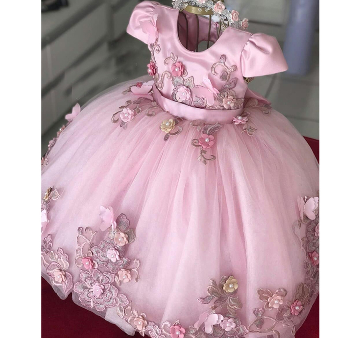 pink cute flower girl dresses for weddings 3d flowers lace appliqué toddler