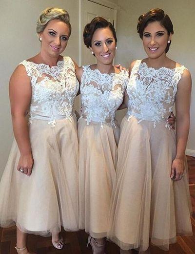 champagne lace applique bridesmaid dresses short tea length cheap vintage