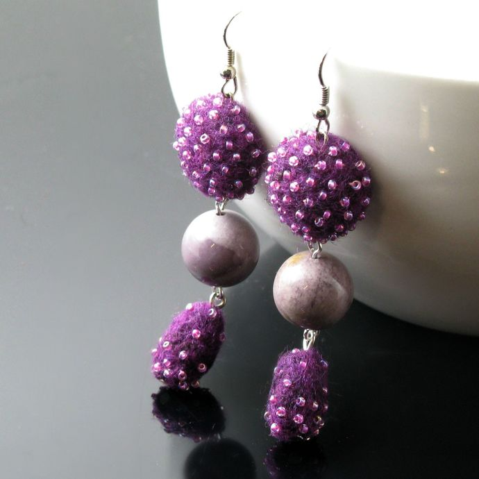 Purple felted and beaded dangle earrings with mookaite