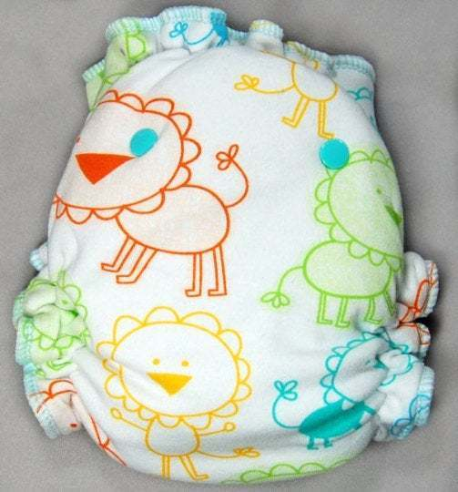 Crayon Lions - Cloth Diaper or Cover - You Pick Size and Style - Made to Order