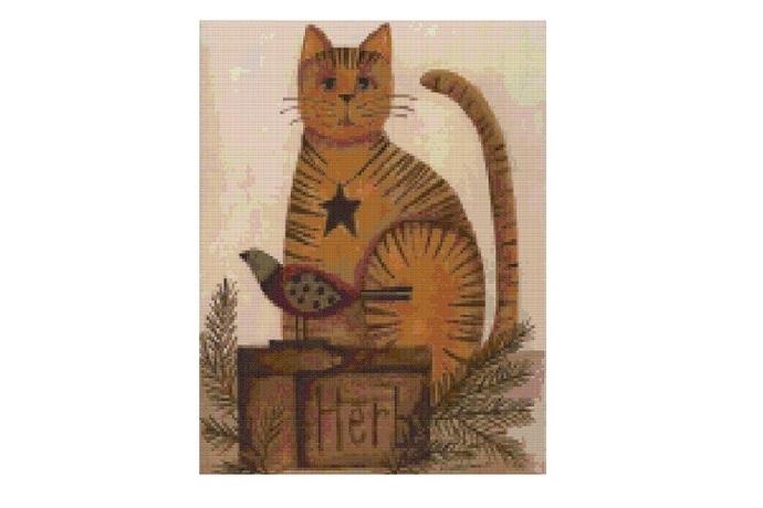 Primitive Cat Cross Stitch Pattern