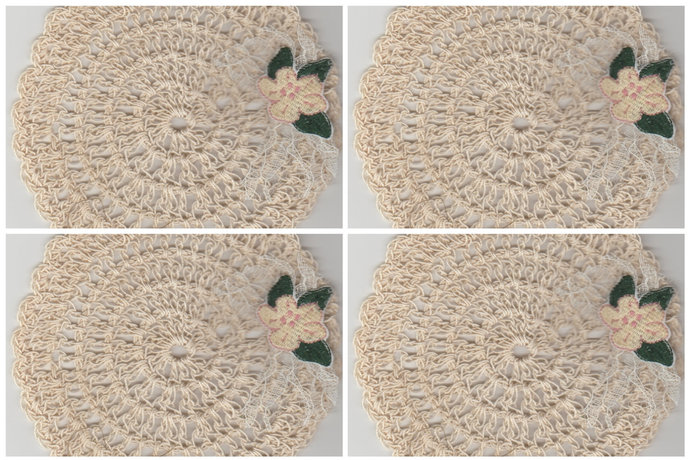 "Vintage Inspired 5.5"" Round Crochet Drink Mats Doily-Set of 4"