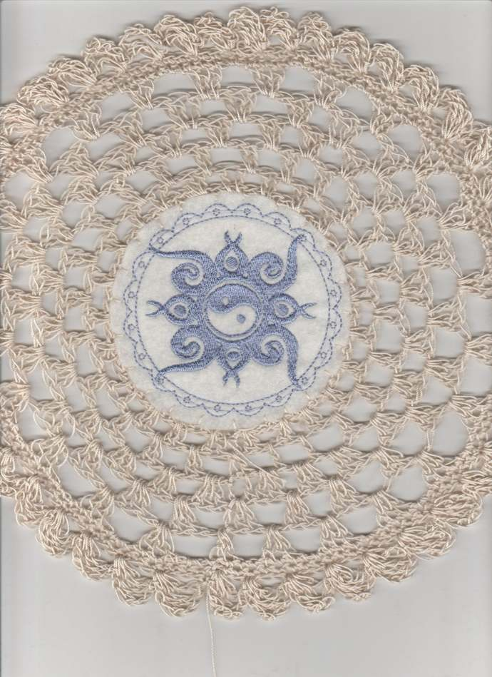 "Vintage Inspired 11"" Round Crochet Yin Yang Center Doily"