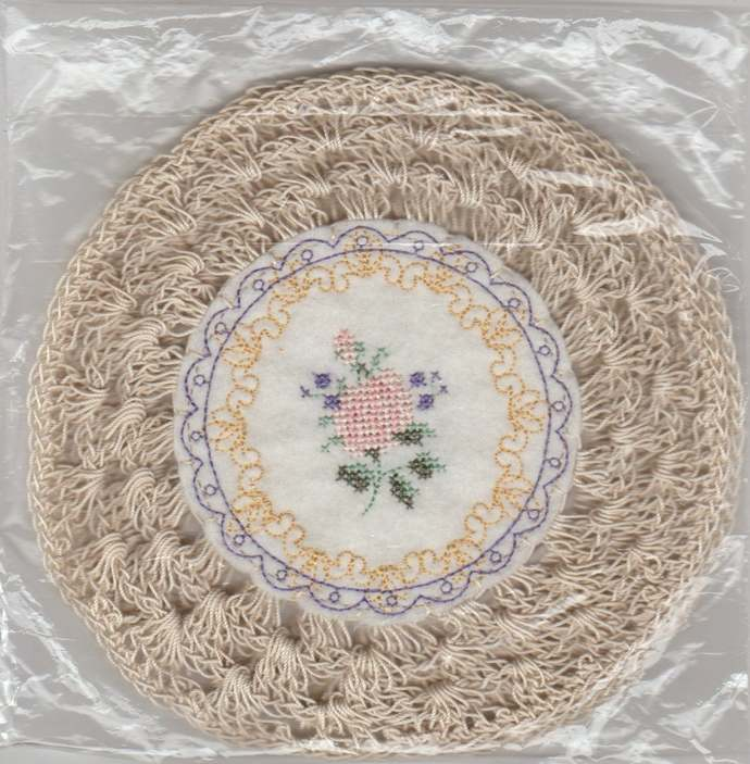 """Vintage Inspired 7"""" Round Crochet Glass Jar Candle Doily-Set of 2"""