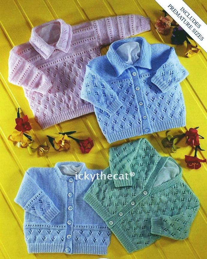 PDF Digital Download Vintage Knitting Pattern Baby Cardigans & Sweater PREMATURE