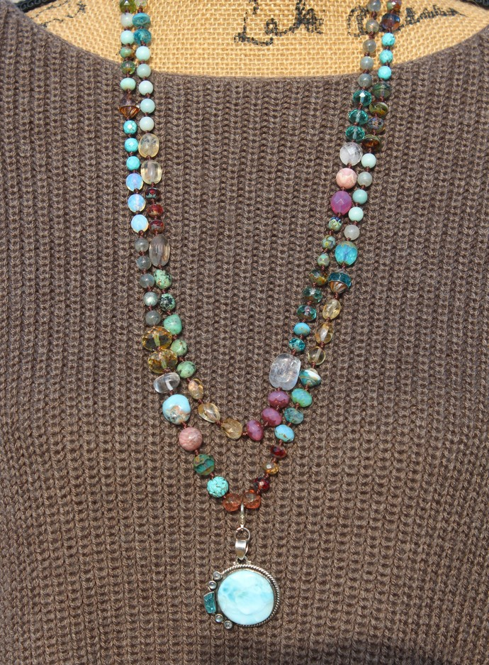 Spiritual awareness Long Beaded necklace with pendant by Inara Natural Crystals