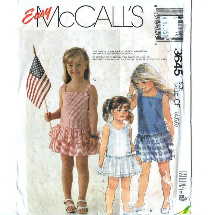 McCall's 3645 Girls Drop Waist Dress 80s Vintage Sewing Pattern Uncut Size 4, 5,