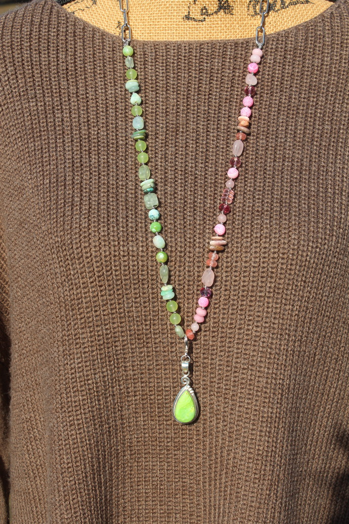 Vision Quest Long Beaded Necklace with Pendant by KnottedUp Pink & Green jewelry