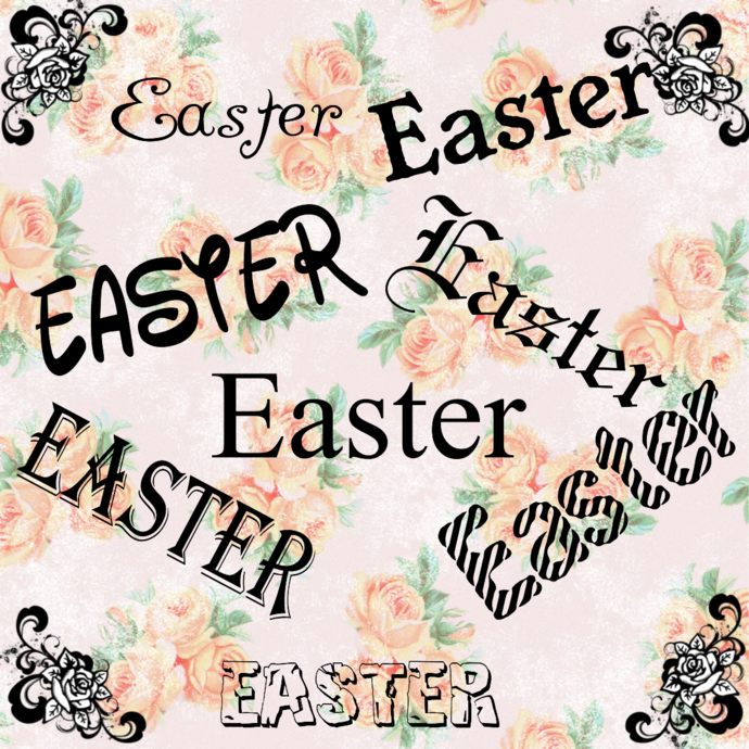 Easter Words-Digital ClipArt-Gift Tag-Notebook-Scrapbook-banner-background-gift