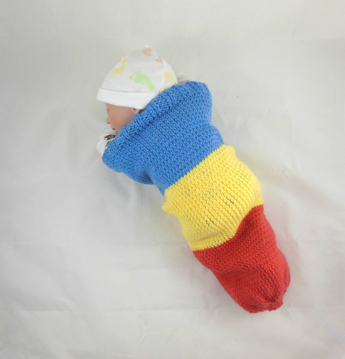 Blue Knit Baby Cocoon, Yellow Knit Baby Sleep Sack, Orange Knit Baby Sleep Bag,