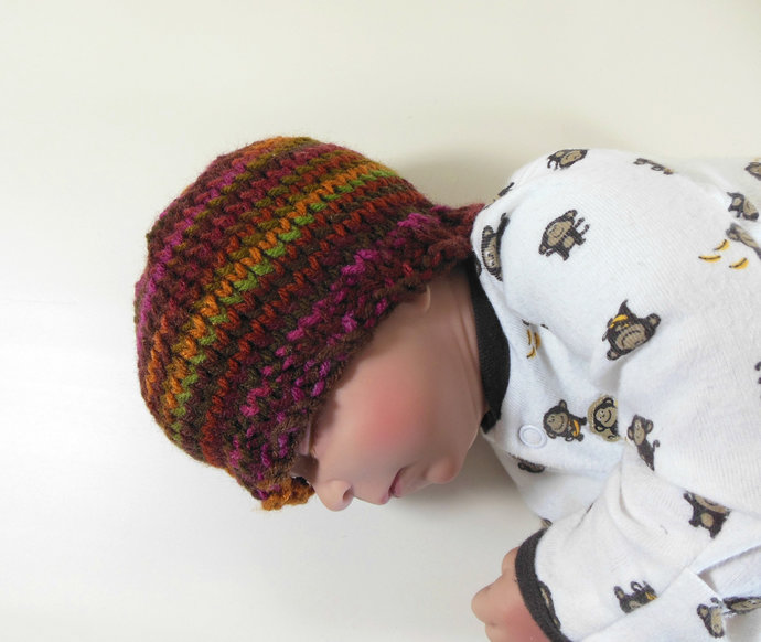 Knit Beanie Hat Infant Size in Mix of Red, Orange, Brown, Green