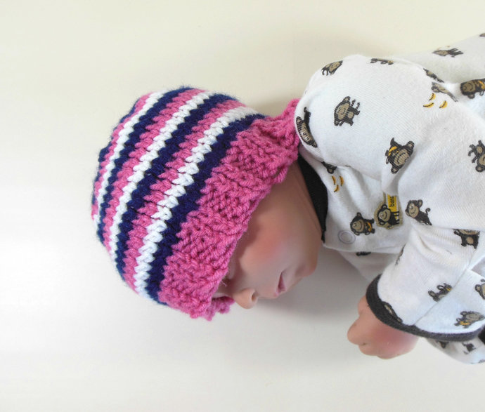 Infant Knit Beanie in Navy, Pink, & White Stripes