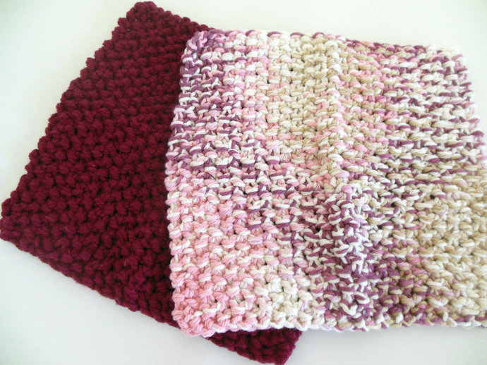 RTS Set of 2 Cotton Double Knit Washcloths Pink, Maroon, & Cream, Pink Maroon