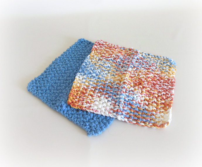RTS Set of 2 Coral or Periwinkle Cotton Double Knit Washcloths, Coral Periwinkle