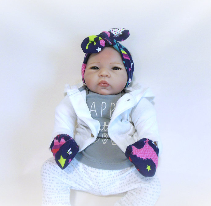 Infant Stretch Tie Knot Headband & Scratch Mittens in Unicorn and Rainbows