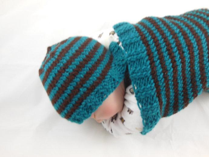 Cocoon, Sleep Sack, Sleep Bag, Blanket, Wrap and Hat in Teal and Brown Stripes