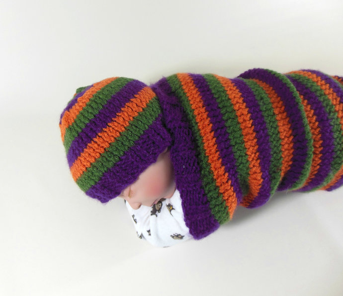 Cocoon, Sleep Sack, Sleep Bag, Blanket, Wrap and Hat in Purple, Green, & Orange