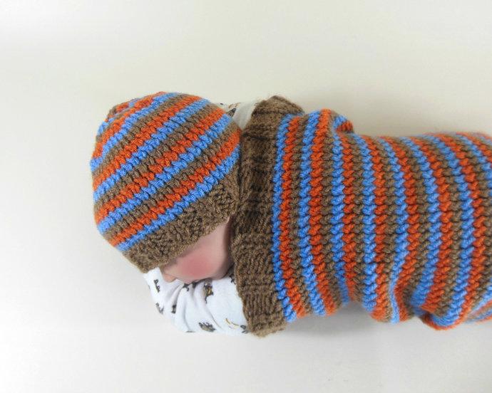 Cocoon, Sleep Sack, Sleep Bag, Blanket, Wrap in Brown, Blue, & Orange Stripes