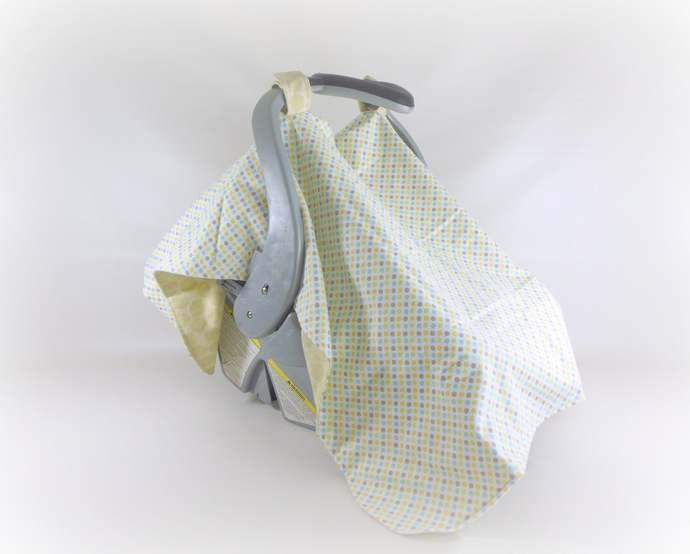 Neutral Polka Dot Baby Car Seat Canopy, Neutral Baby Car Seat Cover, Polka Dot