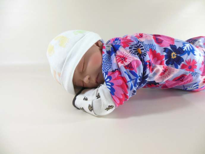 Swaddle Sack, Sleep Sack, Cocoon, Blanket & Scratch Mittens in Purple and Pink