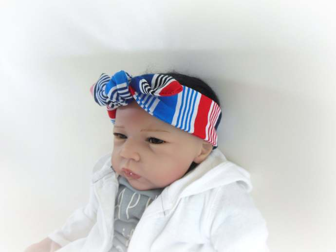 Swaddle Sack, Scratch Mittens, & Tie Knot Headband in Red White Blue Stripes