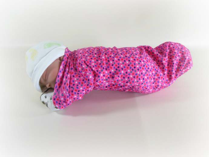 Pink Stars Swaddle Sack, Pink Stars Baby Scratch Mittens, Pink Stars Tie Knot