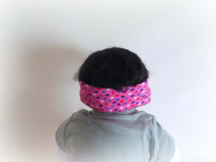 Swaddle Sack, Scratch Mittens, & Tie Knot Headband in Pink Stars