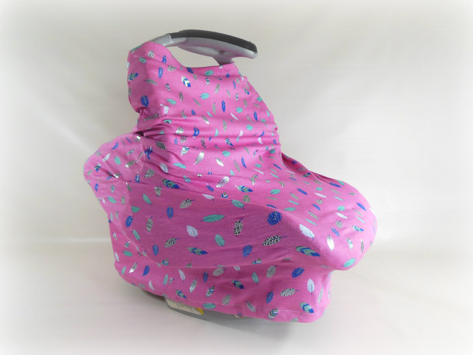 4 in 1 Stretchy Car Seat Canopy, Nursing Cover, Cart Cover, High Chair Cover in