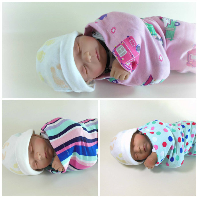 Set of 3 Happy Camper Swaddle Sacks, Pink Stripes Sleep Sack, Pink Stripes