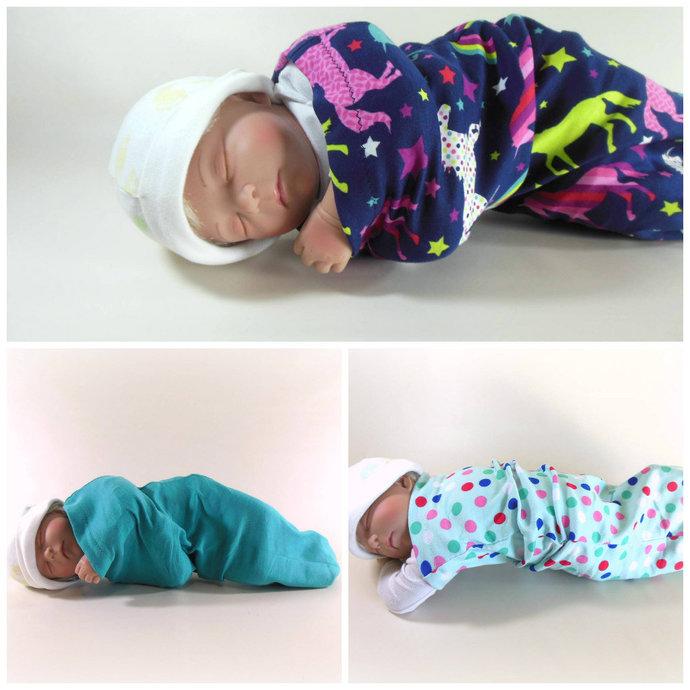 Set of 3 Unicorn Swaddle Sacks, Polka Dot Sleep Sack, Teal Cocoon, Unicorn Baby