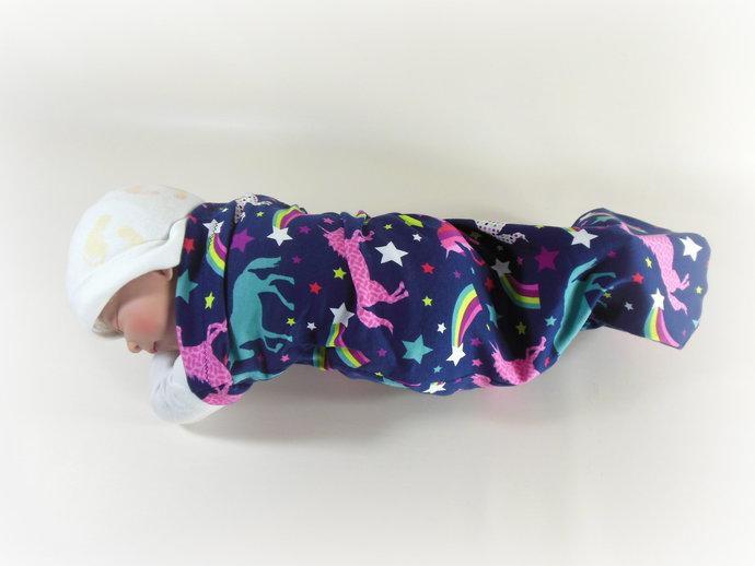 Set of 3 Swaddle Sacks, Sleep Sack, Cocoon, Blanket, Wrap in Unicorn, Polka Dot,