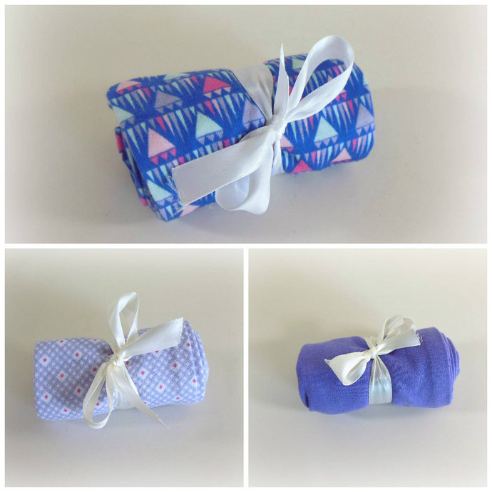 Set of 3 Swaddle Sacks, Sleep Sack, Cocoon, Blanket, Wrap in Purple Prints