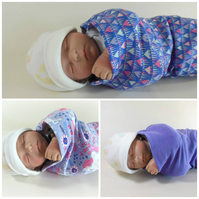 Set of 3 Swaddle Sacks, Sleep Sack, Cocoon, Blanket, Wrap in Unicorn, Geometric,