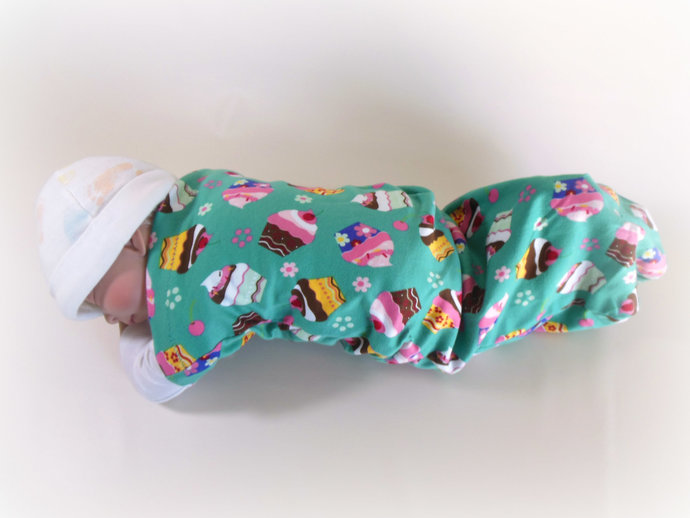 Set of 3 Cupcake Swaddle Sacks,Pink Stars Sleep Sack,Purple Cocoon, Cupcake Baby