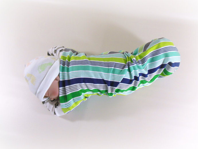 Set of 3 Ocean Swaddle Sacks, Stripes Sleep Sack, Ocean Animals Cocoon, Polka