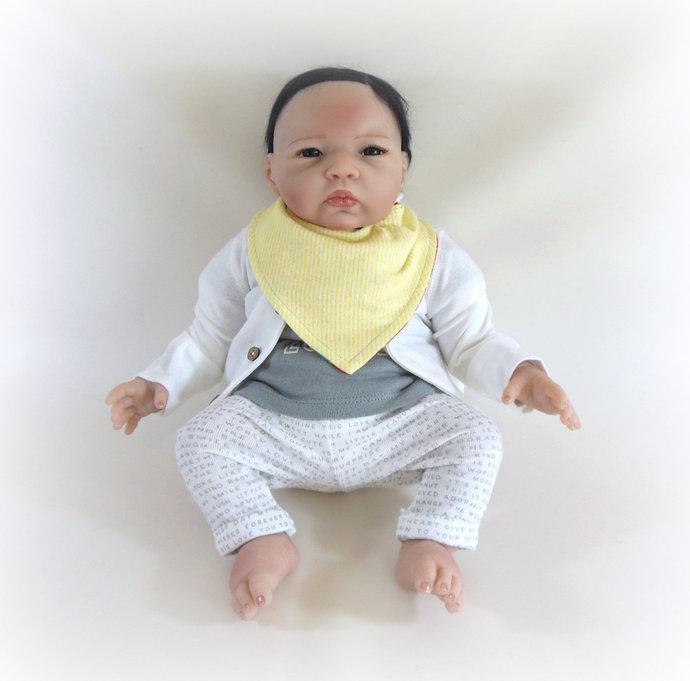 Reversible Infant Bandanna Bib, Bandanna Scarf, Drool Bib in Turtles and Gingham